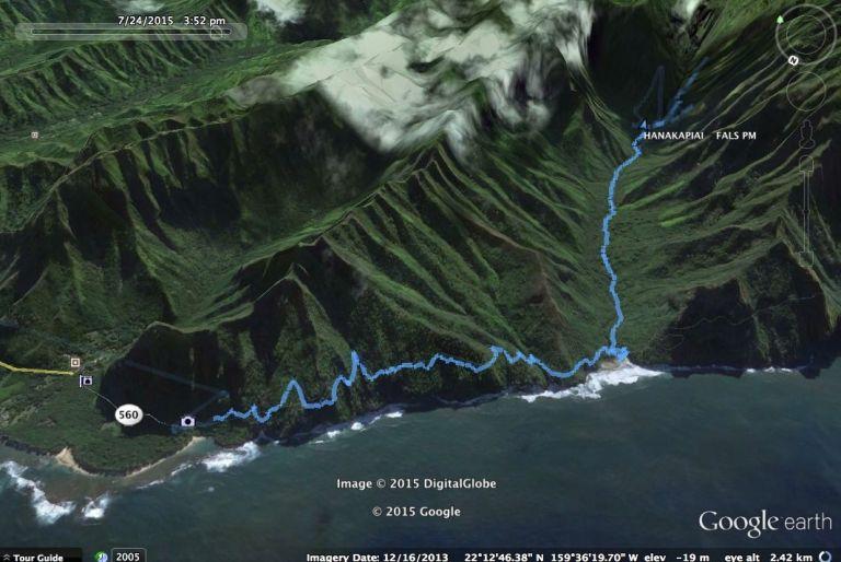 hanakapiai 2 google eath track