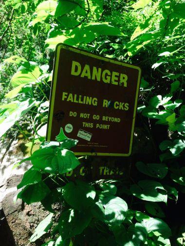 Warning at Hanakoa Falls
