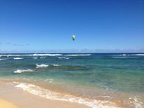 Big wind for windsurfing on the beach. This beach is halfway between the start and turn around point of the trail