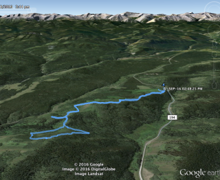 Google Earth track of the route