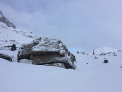 A huge boulder at the pass