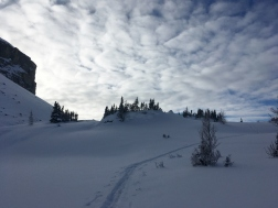 Following tracks up the east side of Boulder Pass