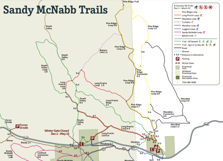 The North Trails of Sandy McNabb. Pine Ridge Loop is in Yellow