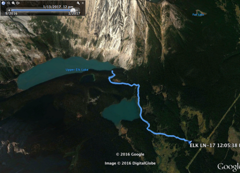 My Route from the Cabin to the shore of Upper Elk Lake