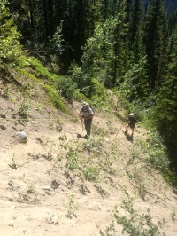 The washed out section of trail with rope