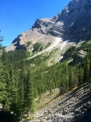 Looking back to the slopes below ribbon peak