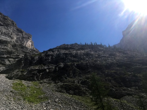 Looking up towards the cirque that holds the third memorial lake