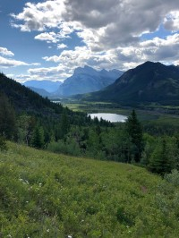 View of Vermillion Lakes and Banff in the distance
